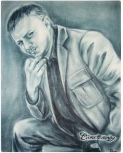Портрет в технике сухая кисть_3 портрет мужчины