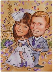 Свадебный шарж красками