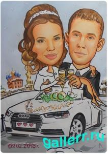 Шарж красками свадебный