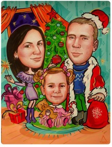 Шарж красками новогодний