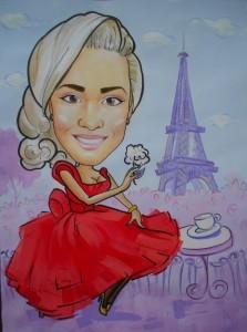 Портрет шарж девушка в красном платье