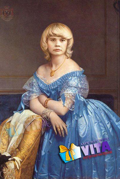 Имитация женщина в голубом