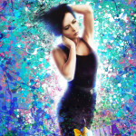 Портрет девушки на холсте в стиле Гранж