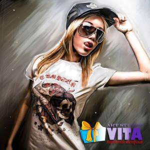 Цифровой портрет девушка в кепке