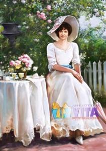 женщина в саду портрет на холсте