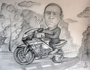 черно белый шарж мотоциклист