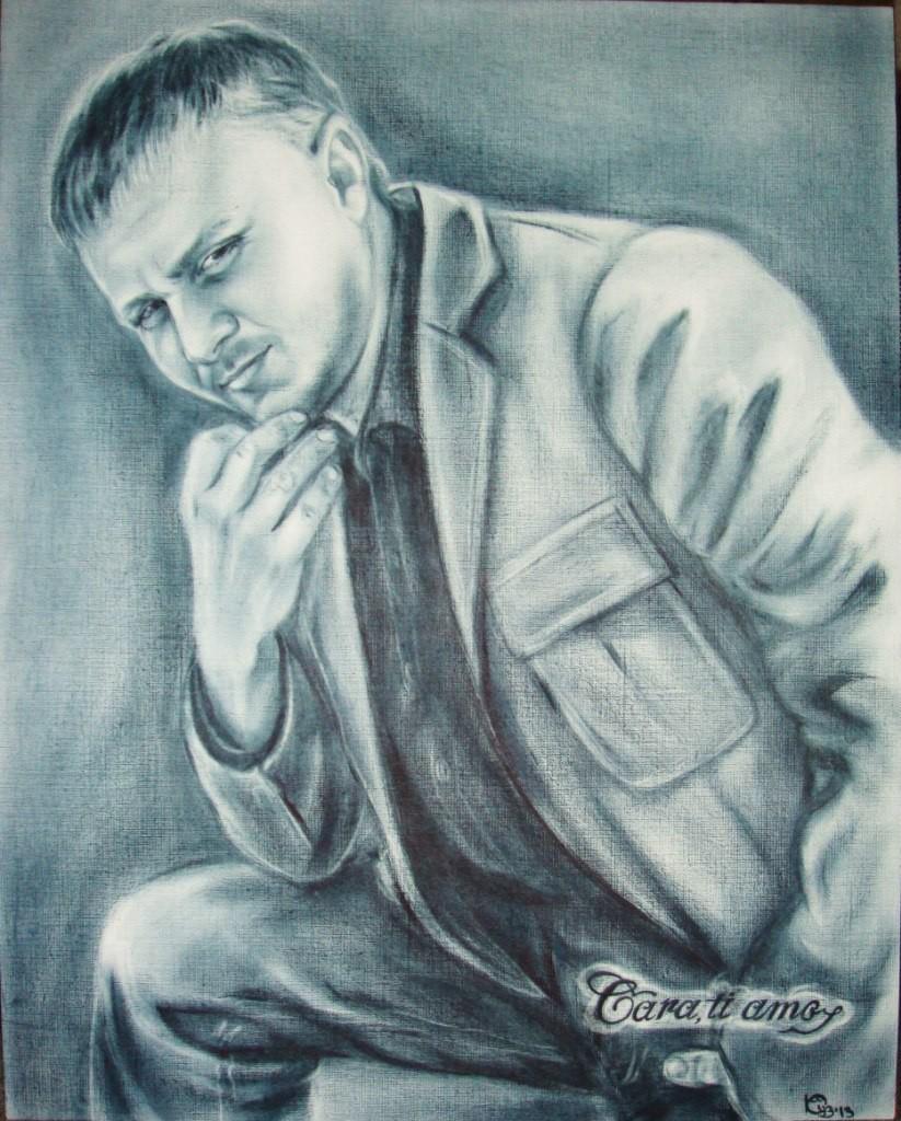 Портрет мужской в стиле Сухая кисть 2