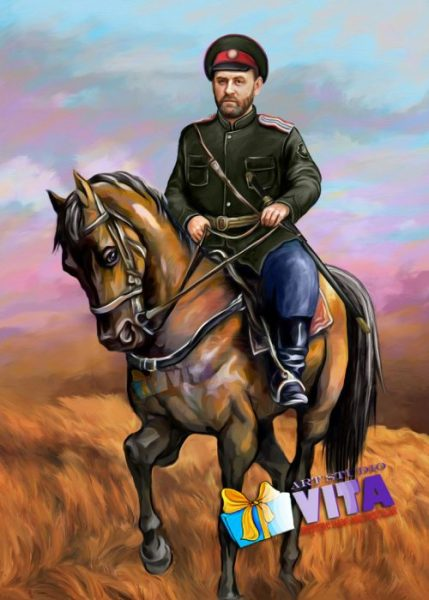 имитация живописи всадник на коне