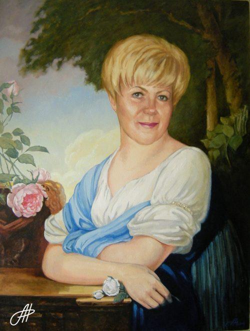 портрет маслом женщина