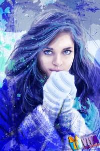 Портрет в стиле Дрим Арт. Гранж. на холсте зимняя