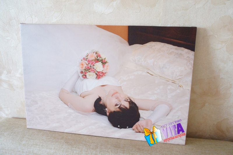 Печать фото на холсте невеста