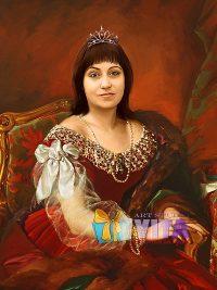 Имитация живописи женщина в историческом платье