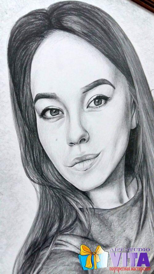 Портрет карандашом чб