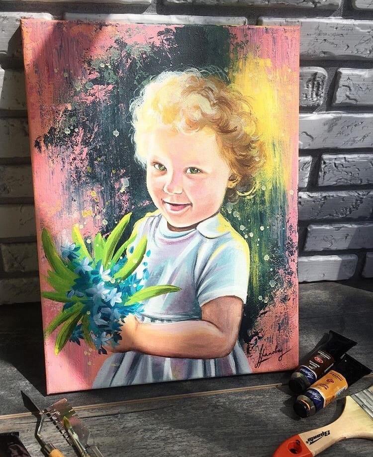 Портрет акриловыми красками 2