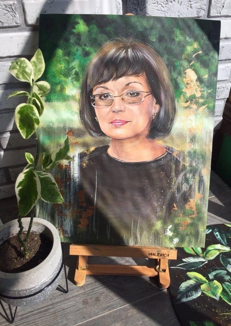 Портрет красками акриловыми