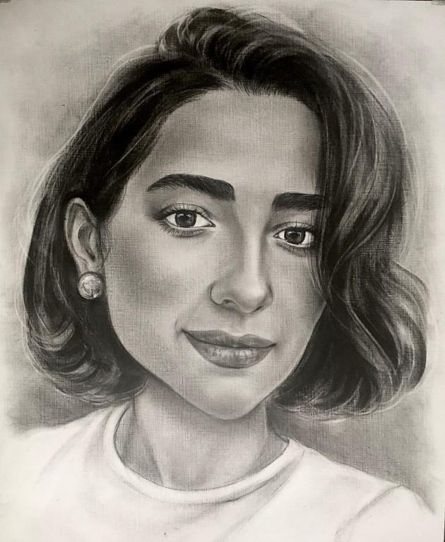 Черно белый портрет в технике сухая кисть