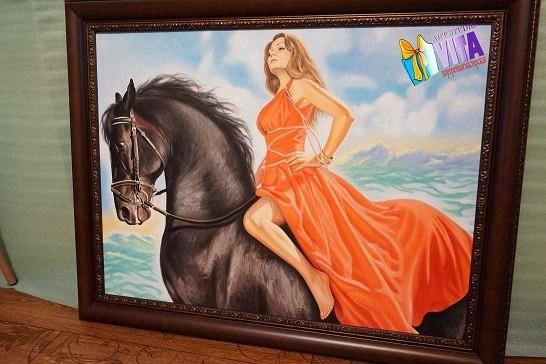 Портрет маслом, девушка на коне