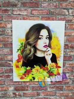 Цветочный Арт портрет на холсте