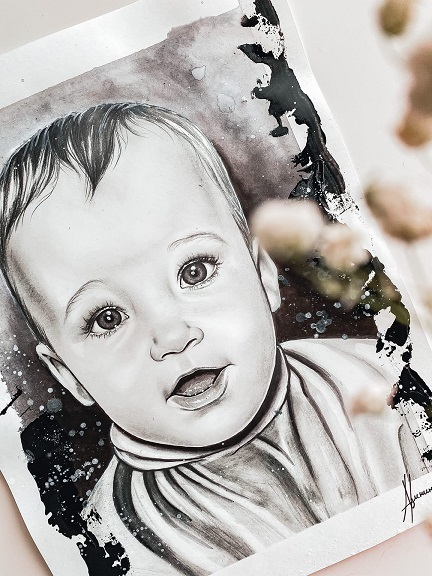 Портрет ребенка чб