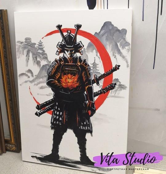 портрет маслом самурай