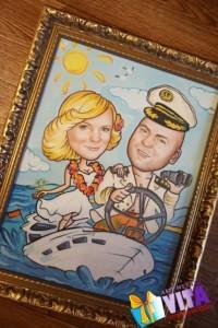Портрет шарж свадебный на катере