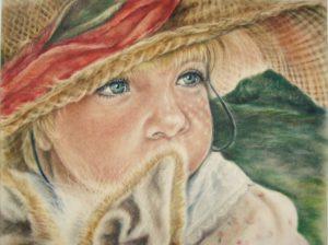 Портрет сухая кисть в цвете. Ребенок в шляпе