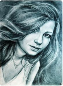 Портрет в технике сухая кисть_2 портрет девушки