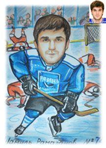 Шарж мелками хоккеист