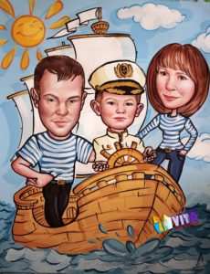 Семейный портрет - шарж красками