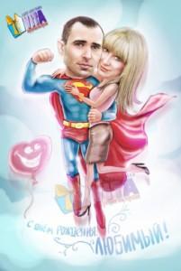 Портрет шарж супермены