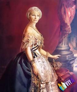 портрет женщины на холсте