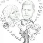 Свадебный шарж черно белый