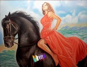 Девушка на коне Портрет на холсте маслом