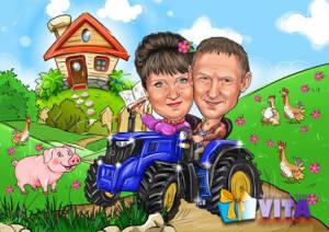 Портрет шарж в Москве фермеры