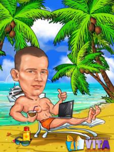 Шарж на пляже