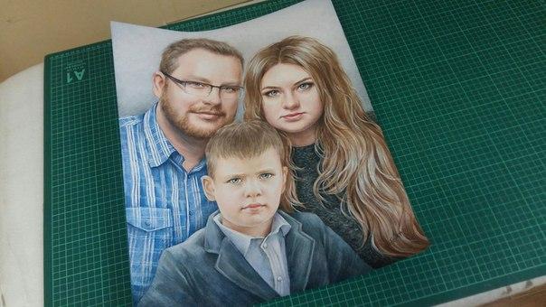 Семейный портрет - портрет карандашами