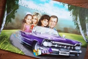 Портрет шарж в Москве семейный на машине